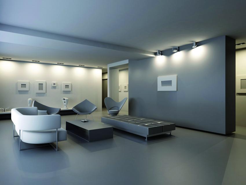 Pavimento in resina monocromatica per un salotto minimal e moderno