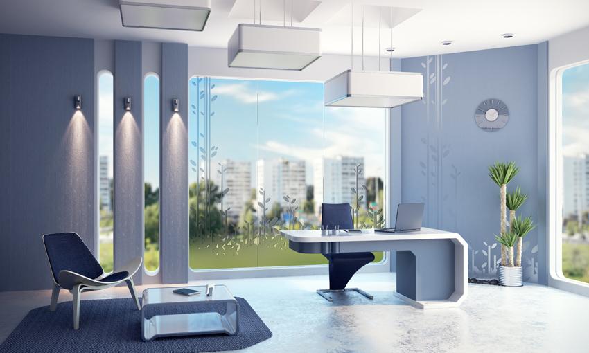 pavimentazione e pareti in resina in quest'ufficio ultra moderno