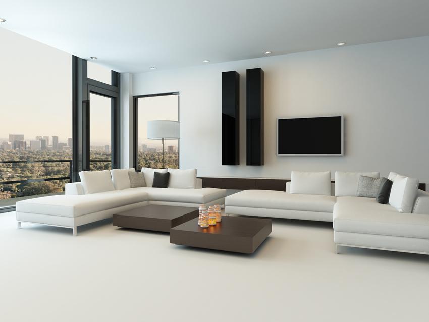 Studio cromatico per pareti e pavimenti in resina di questo soggiorno per un openspace ultramoderno