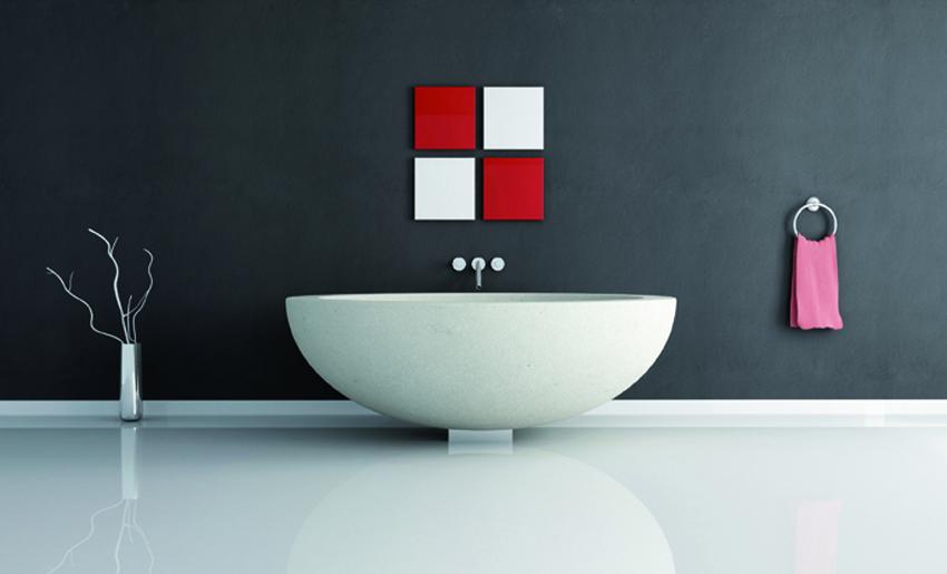 bagno minimal con pavimento in resina lucida. eliminate le poco estetiche vie di fuga delle piastrelle