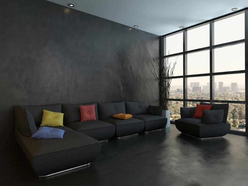 Pavimento moderno per la zona living con la resina Elekta