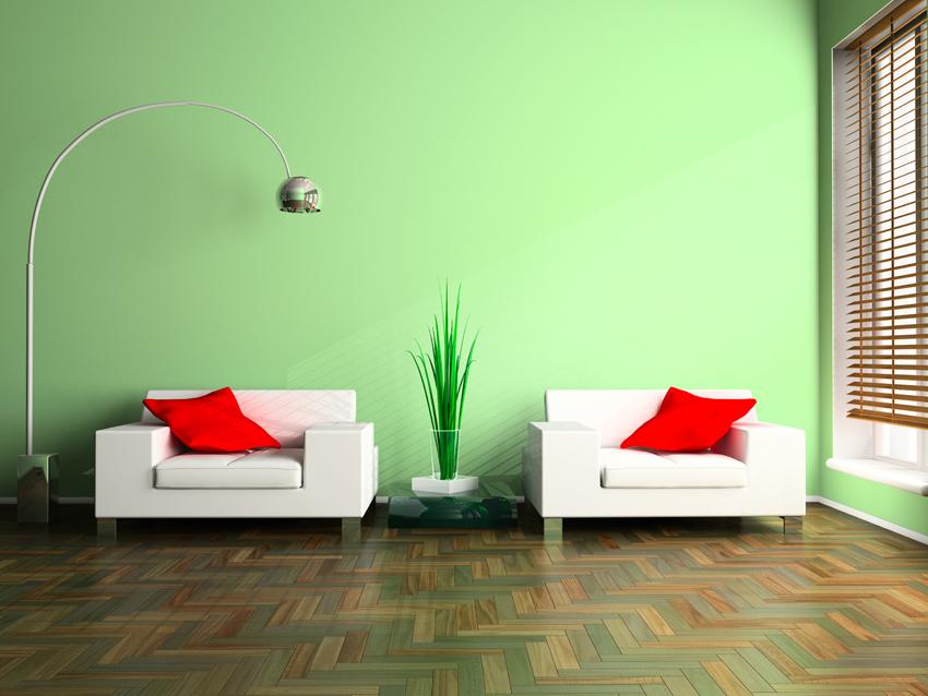 parete in resina verde per sala di attesa