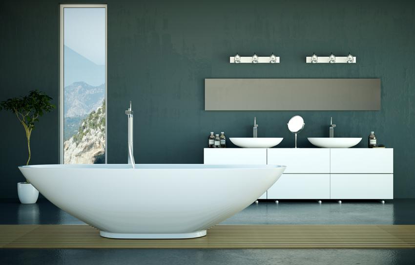bagno moderno ristrutturato utilizzando resina sia sul pavimento che sulle pareti