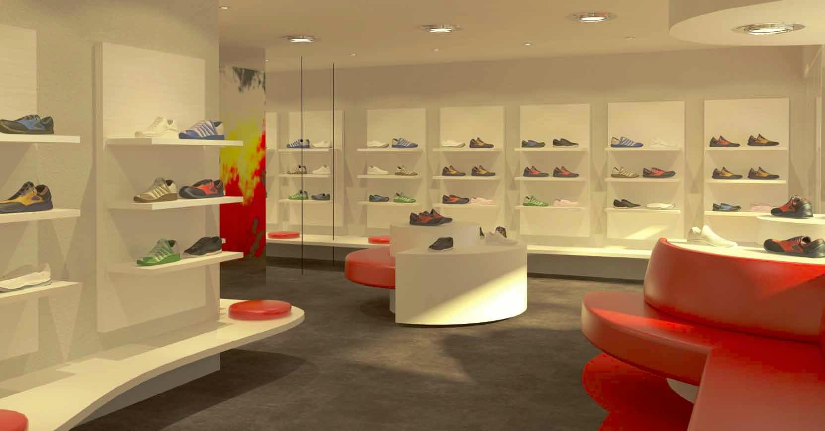 pavimento in resina per un negozio di scarpe