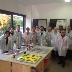 group photo with resin-finish operators from all over Italy