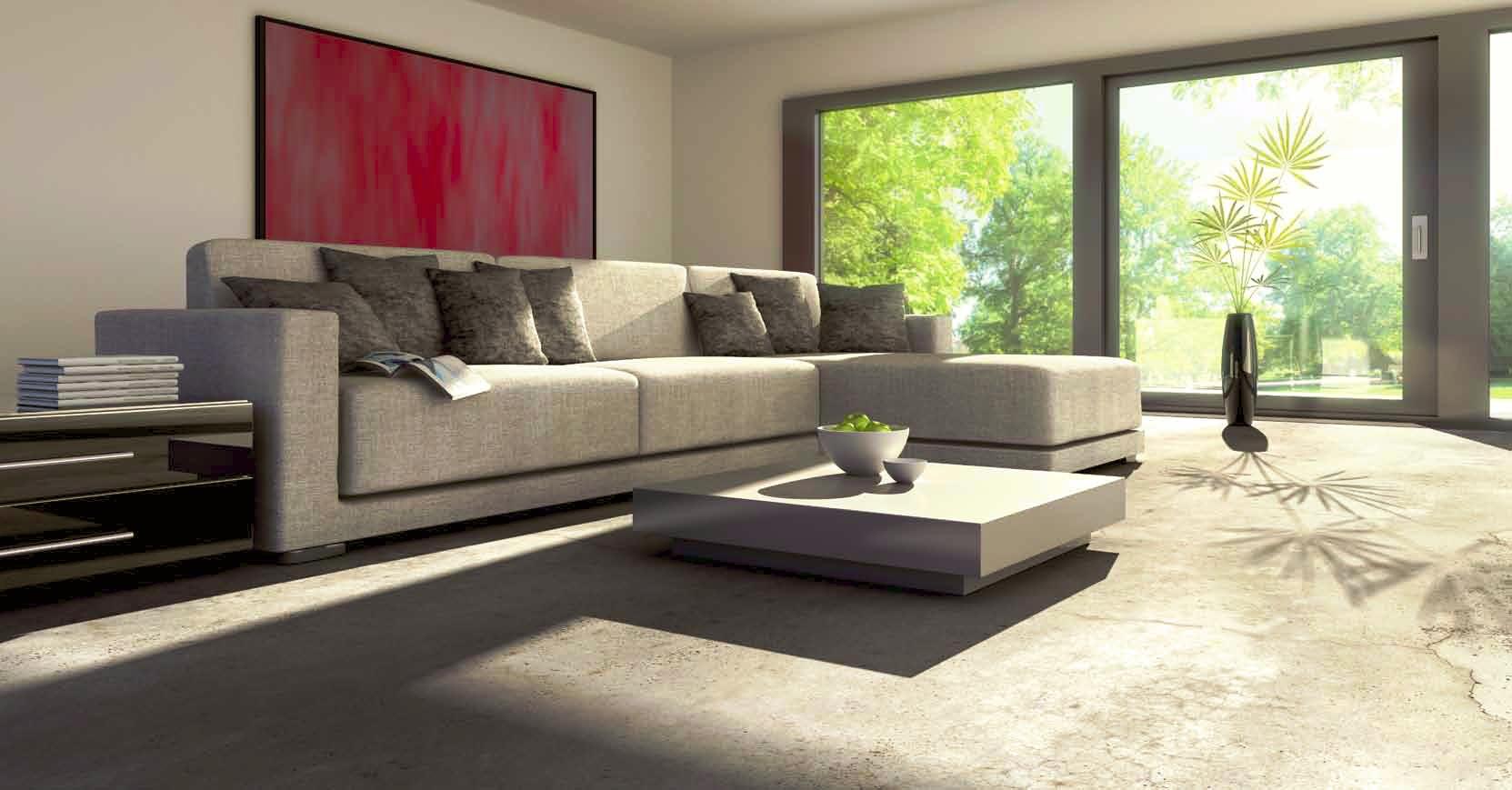Pavimento e pareti in resina per un soggiorno di design